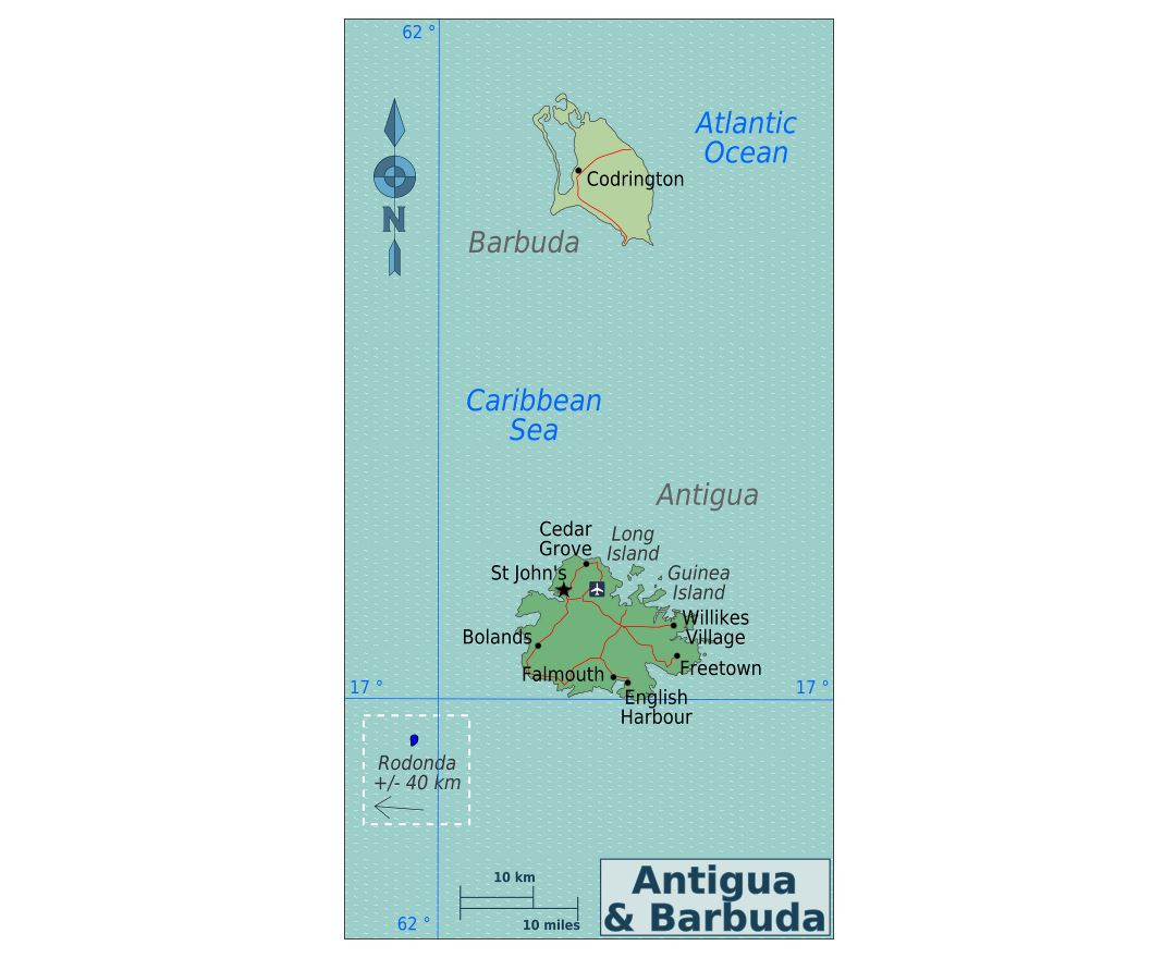 Large political map of Antigua and Barbuda with roads, cities and airports