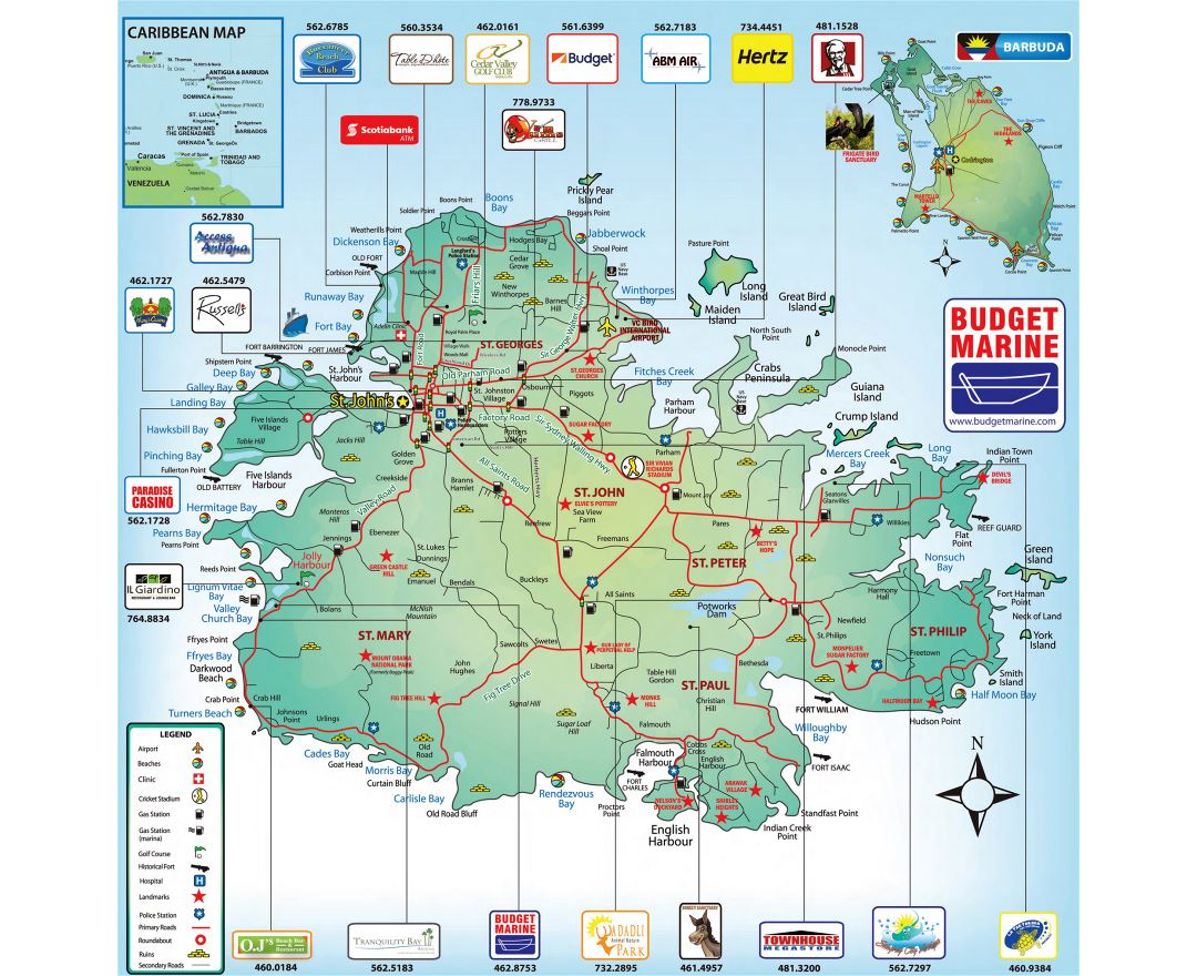 Large tourist map of Antigua with roads and other marks