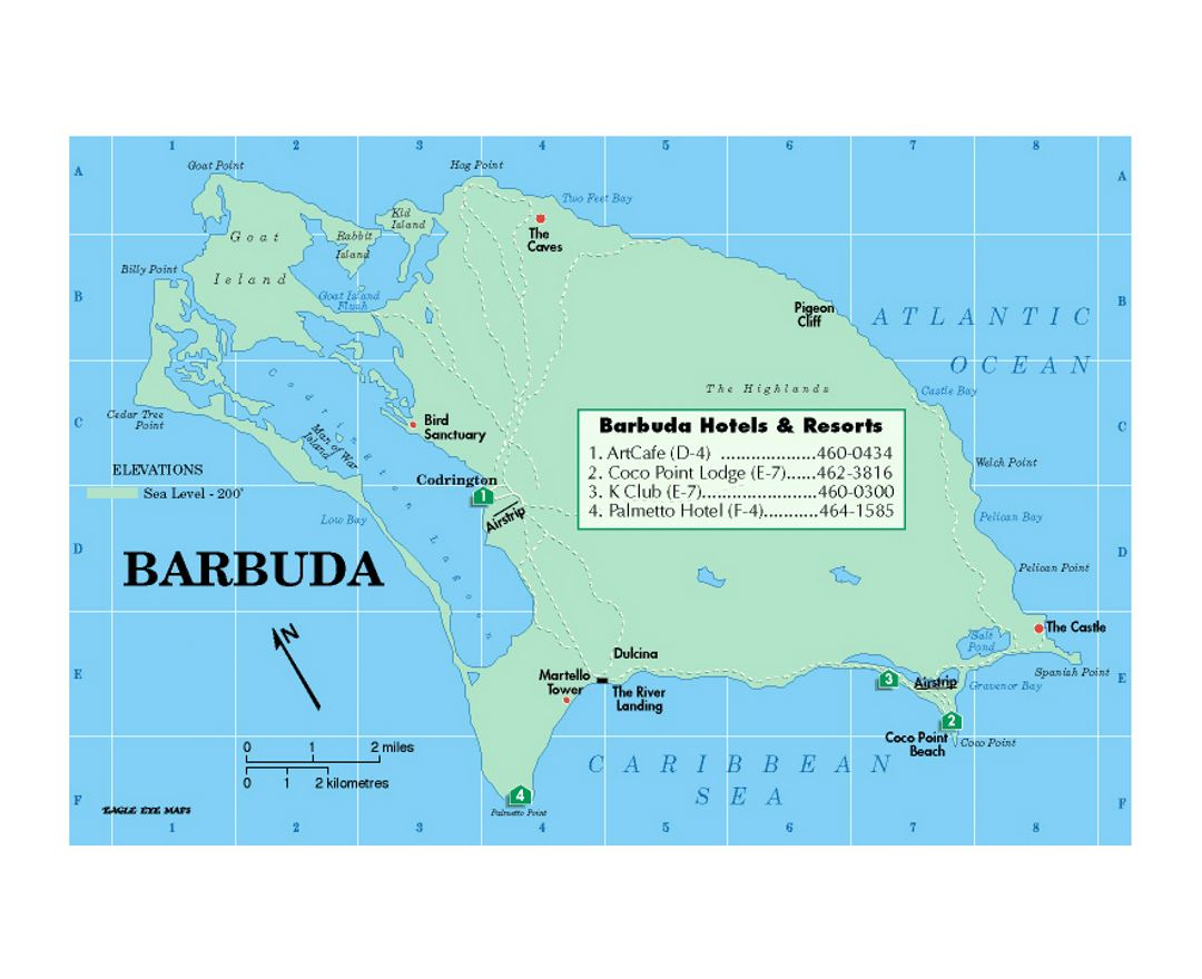 Map of Barbuda with hotels and resorts