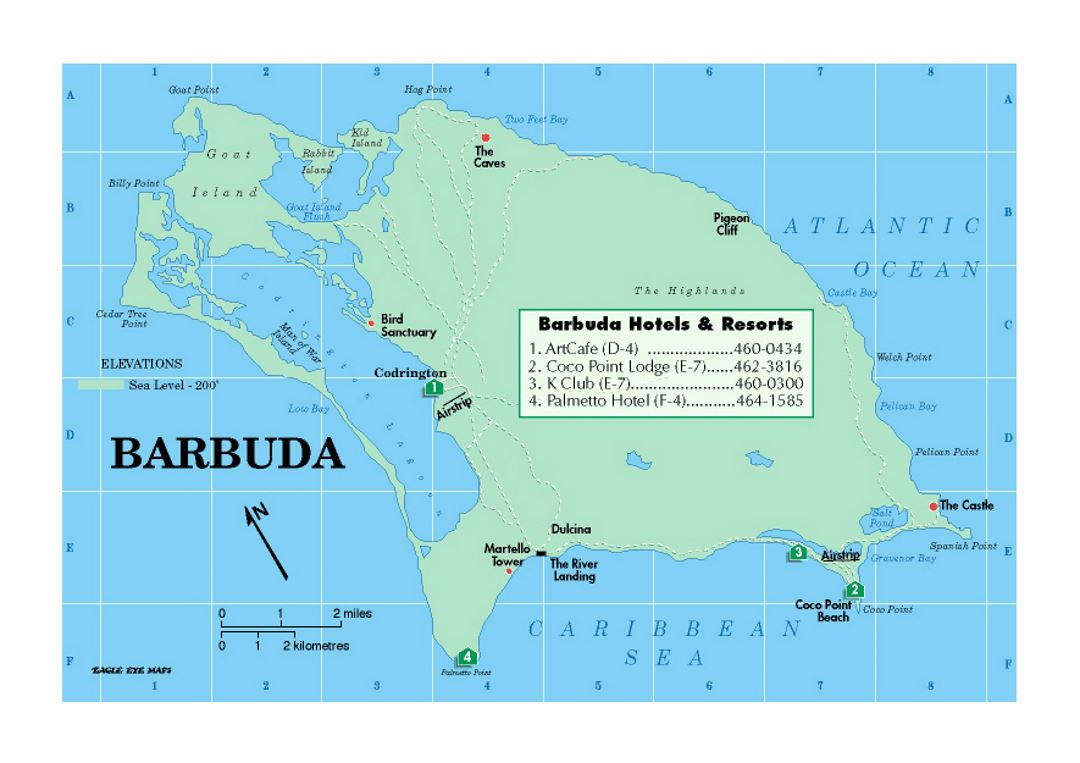 Map Of Barbuda With Hotels And Resorts Antigua And Barbuda - Antigua and barbuda map