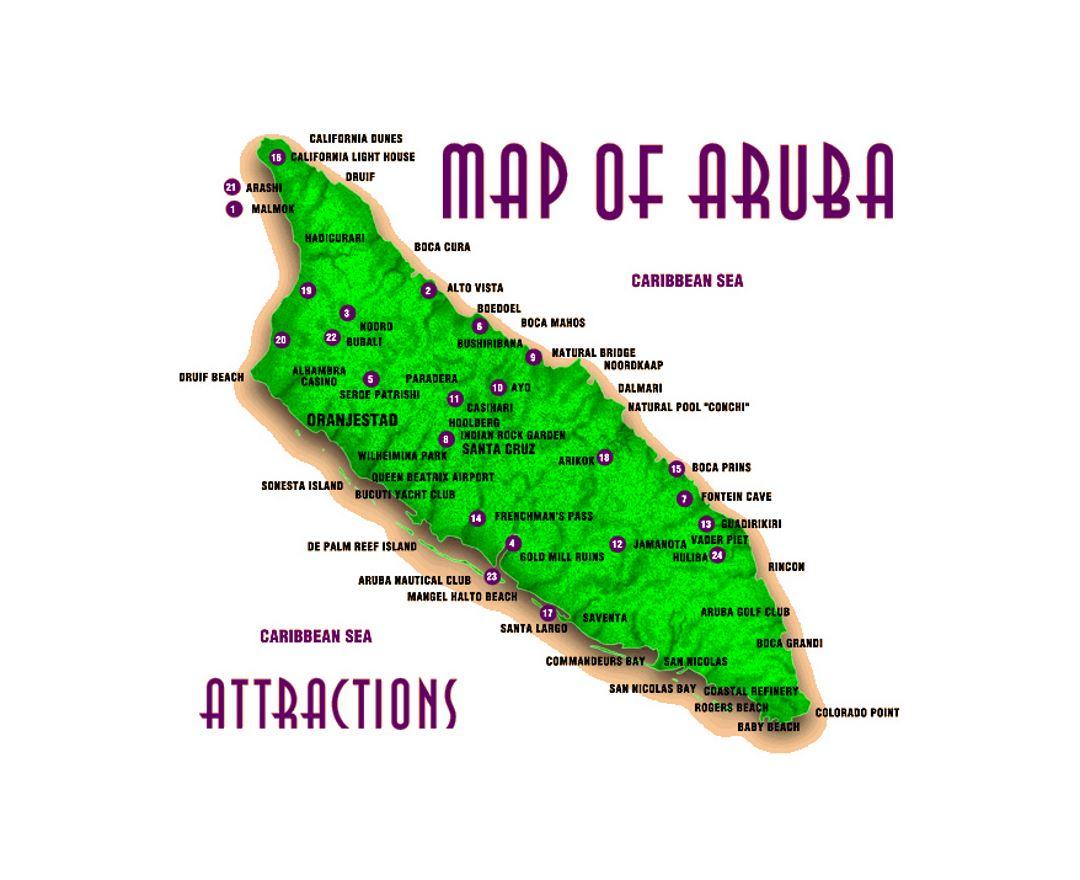 Maps Of Aruba Detailed Map Of Aruba In English Tourist Map - Aruba physical map