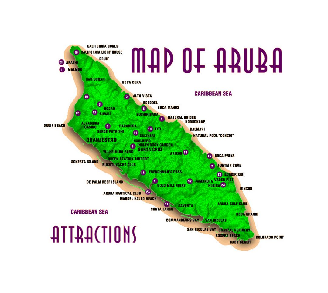Attractions map of Aruba Aruba North America Mapsland Maps