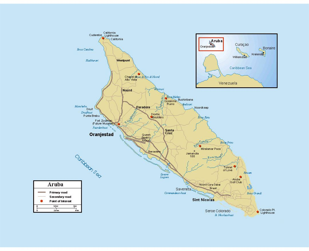 Maps of aruba detailed map of aruba in english tourist map detailed political map of aruba with roads cities and other marks publicscrutiny Choice Image