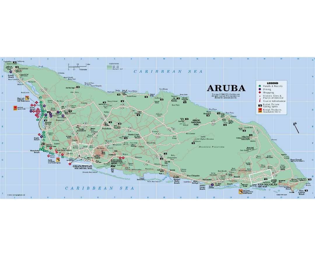 Maps of aruba detailed map of aruba in english tourist map detailed tourist map of aruba with roads and other marks publicscrutiny Gallery