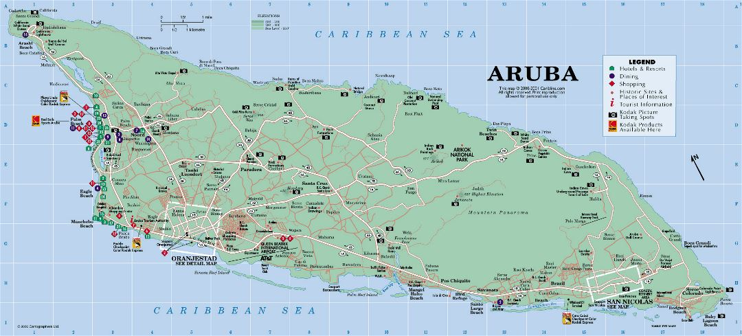 Detailed tourist map of Aruba with roads and other marks