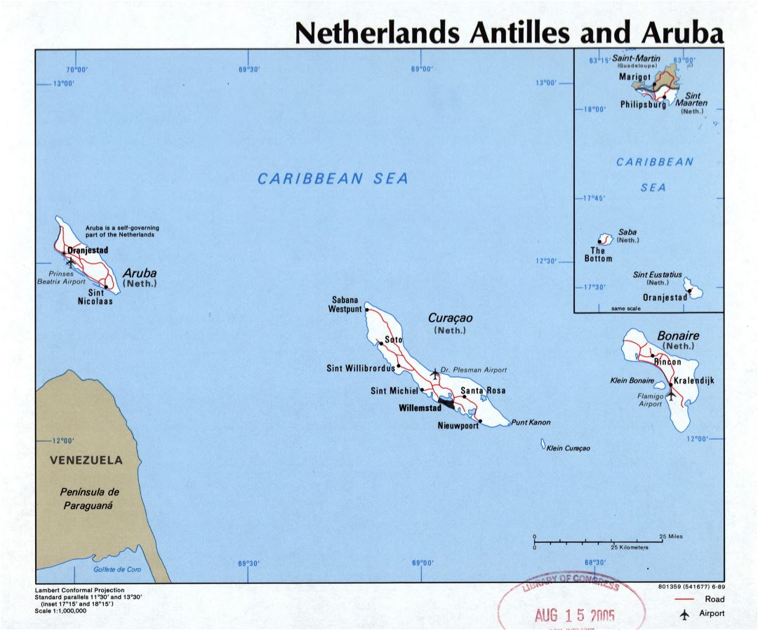 Large detailed political map of Netherlands Antilles and Aruba with roads, cities and airports - 1989