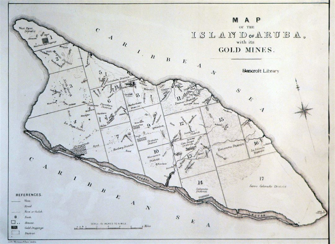 Large old map of the island of Aruba with its gold mines - 1885
