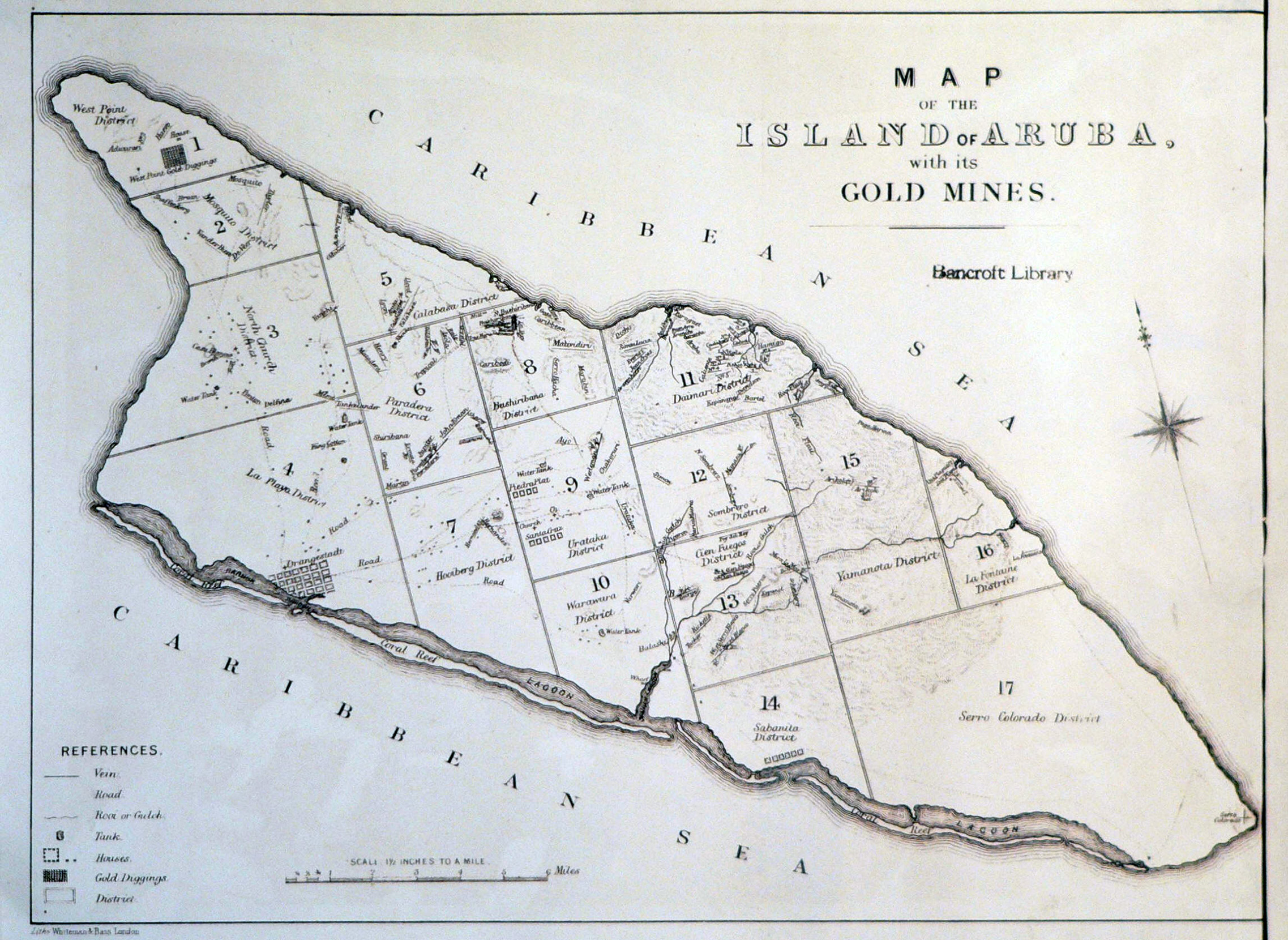 Large old map of the island of Aruba with its gold mines 1885
