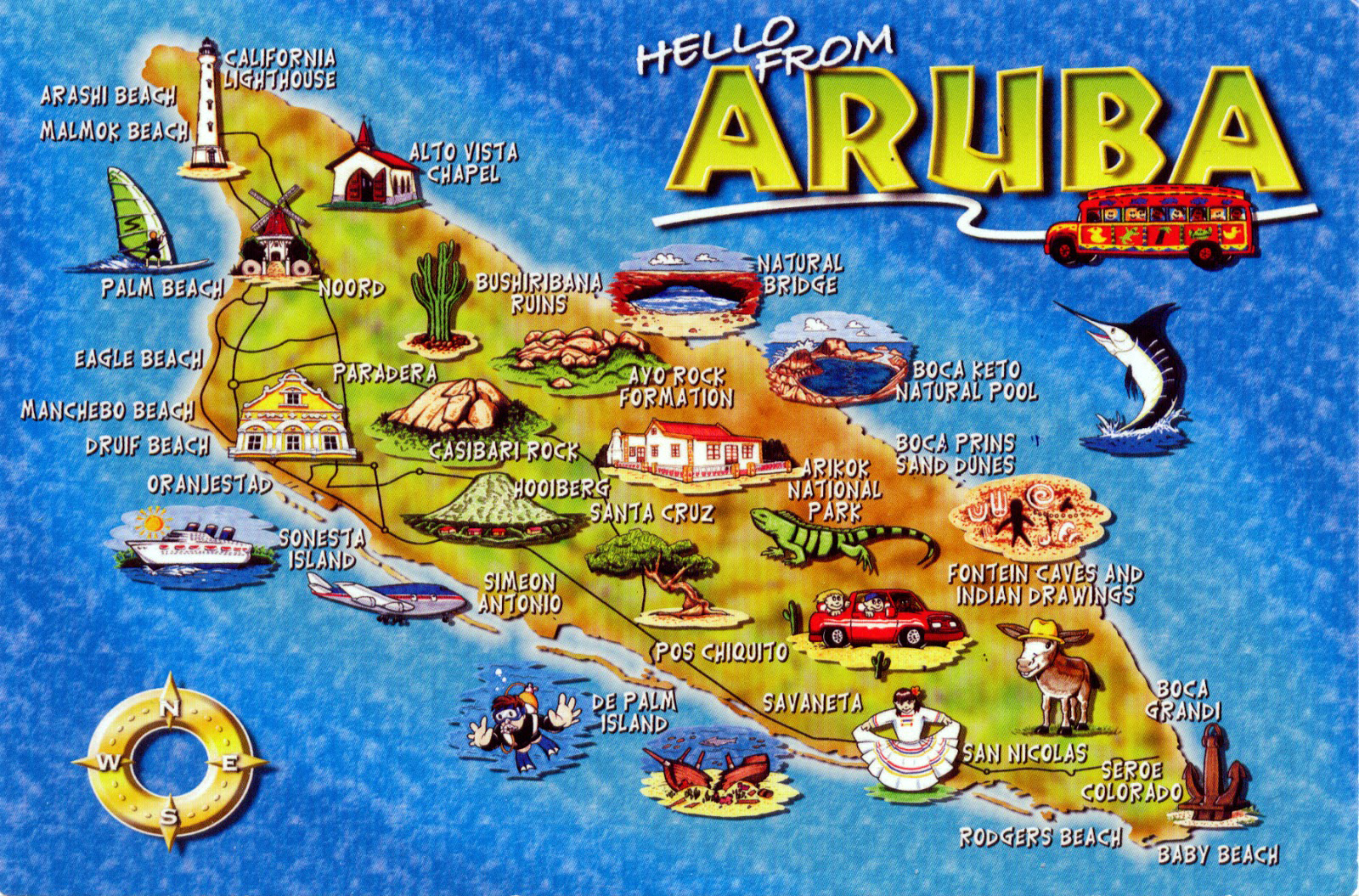 Large tourist illustrated map of Aruba Aruba North America