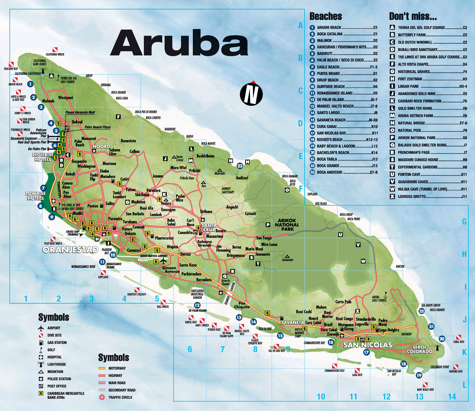 Large tourist map of Aruba with roads and other marks Aruba