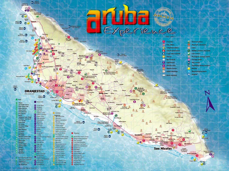 Large tourist map of Aruba   Aruba   North America   Mapsland   Maps ...
