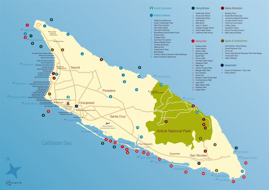 Large travel map of Aruba