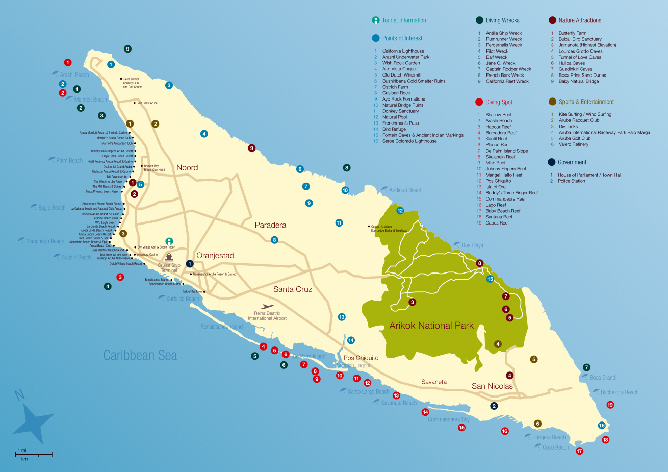 Large travel map of Aruba Aruba North America Mapsland
