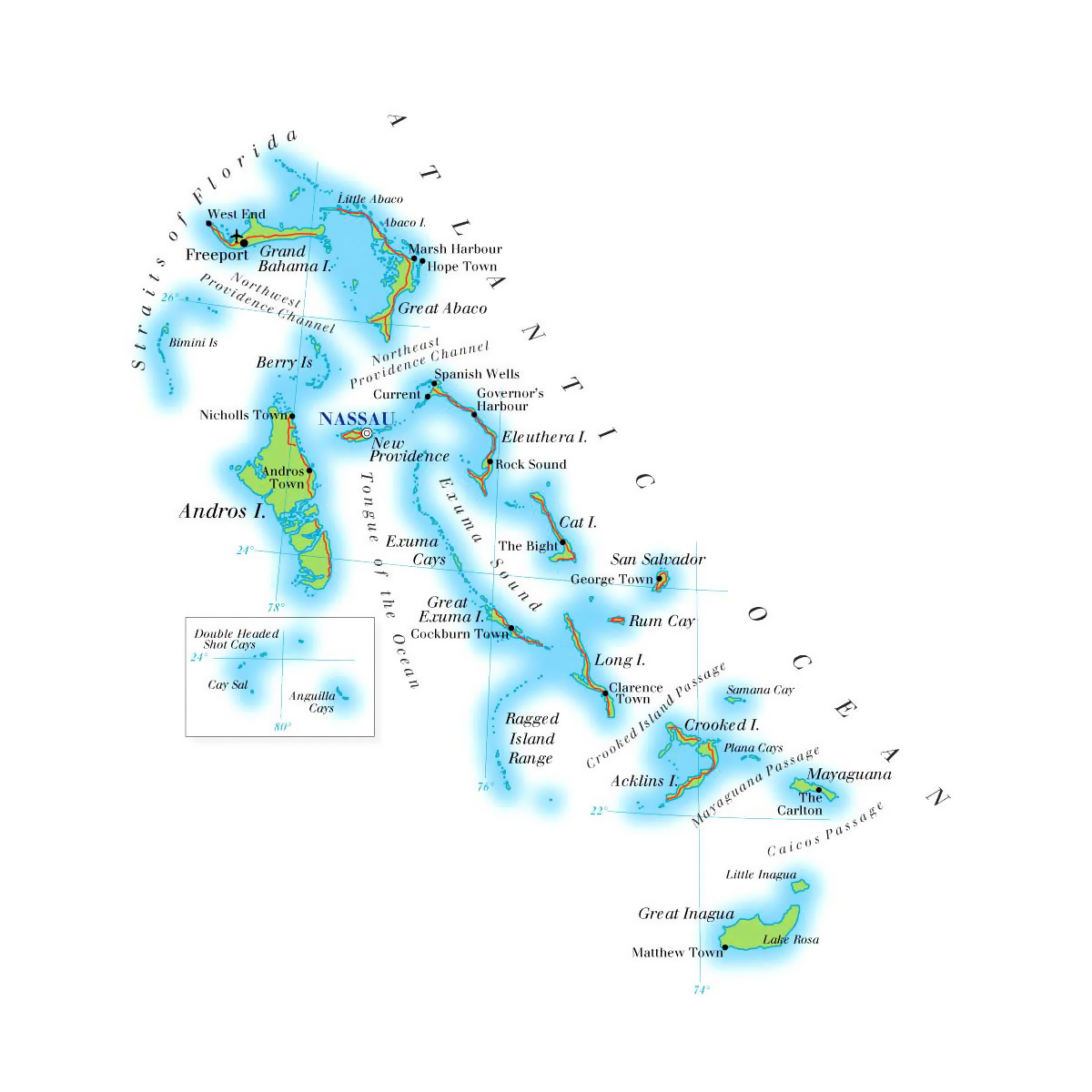 Bahamas Elevation Map.Detailed Elevation Map Of Bahamas With Roads Cities And Airports