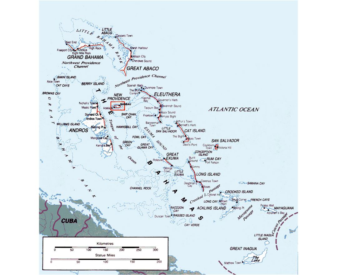 Detailed map of Bahamas