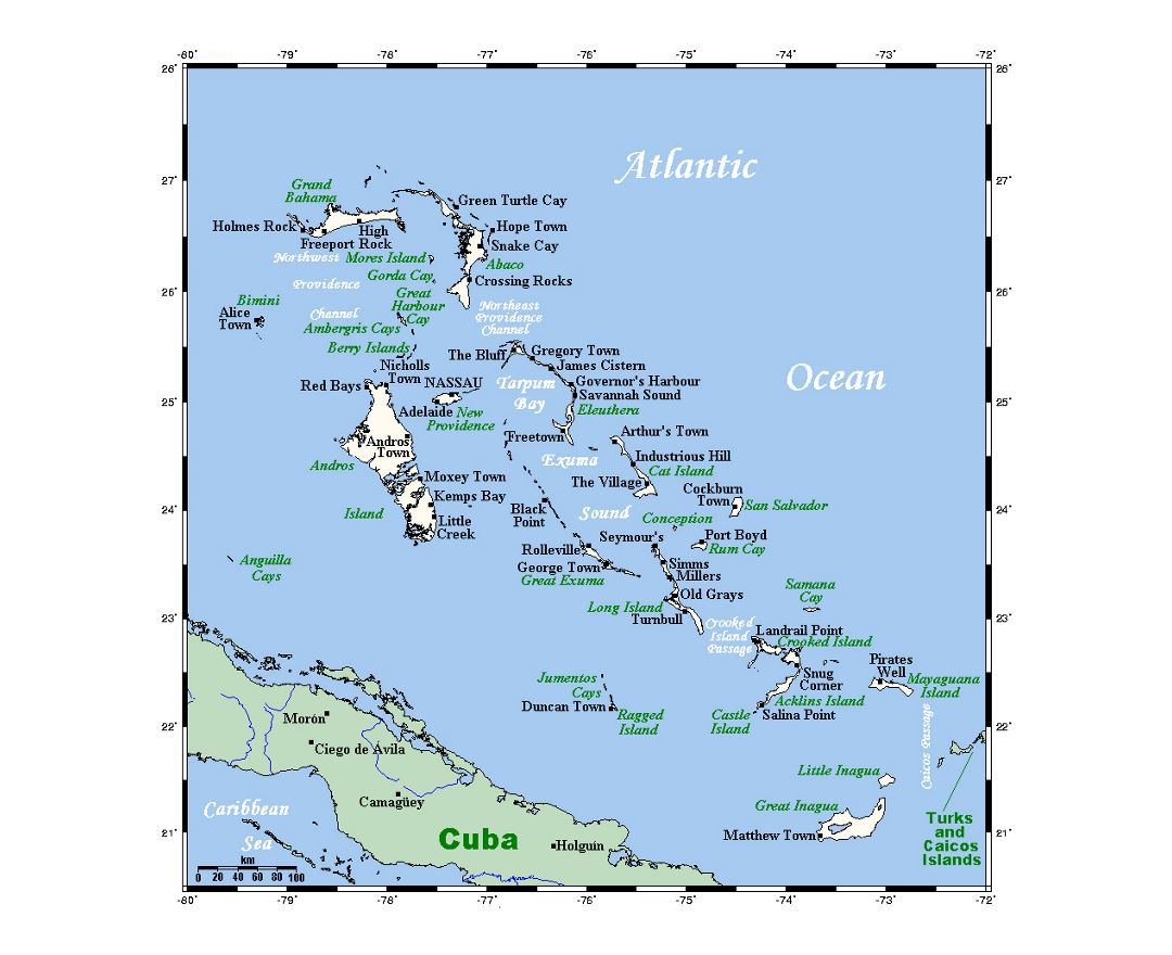 Maps of Bahamas Detailed map of Bahamas in English Tourist map