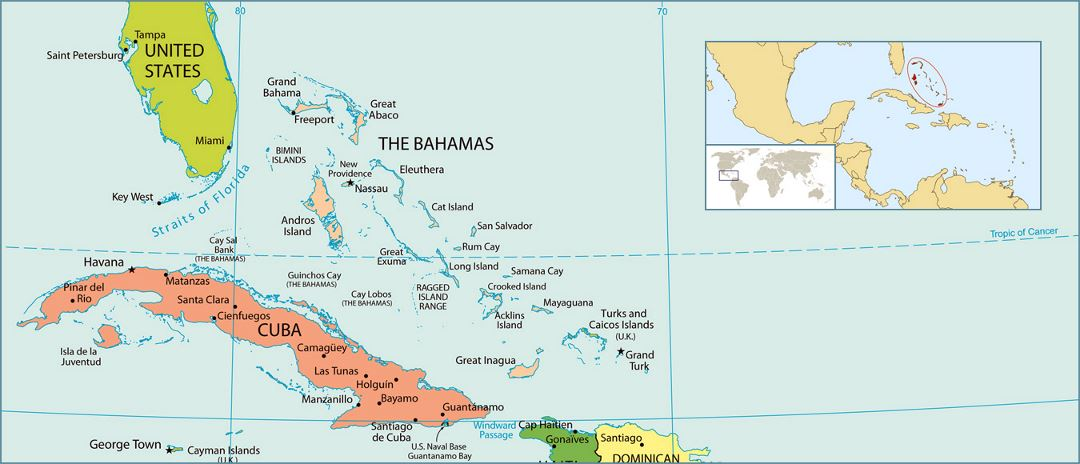 Detailed political map of Bahamas