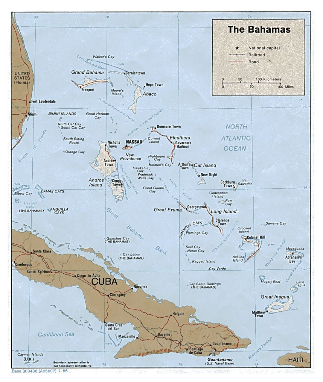 Detailed political map of Bahamas with relief, roads, railroads and major cities - 1986