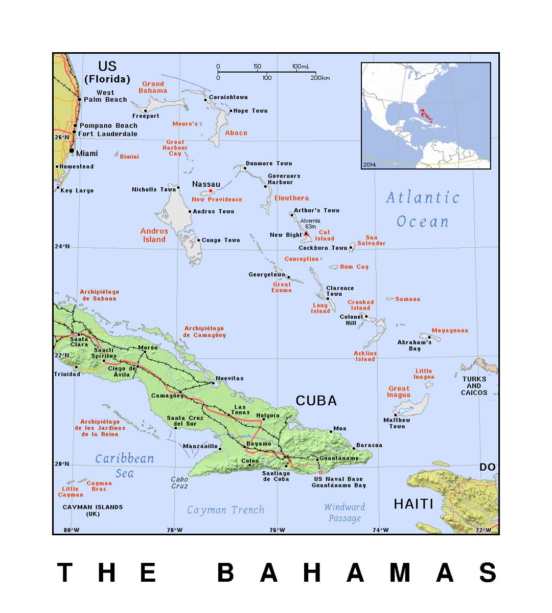 Detailed political map of Bahamas with relief