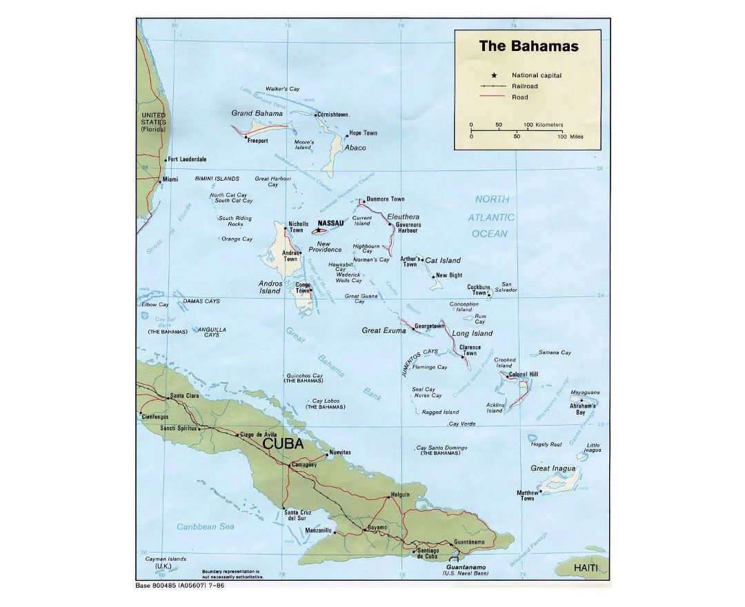 Detailed political map of Bahamas with roads, railroads and major cities - 1986
