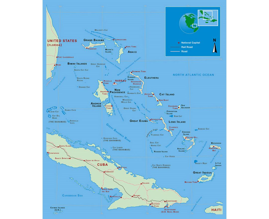 Detailed political map of Bahamas with roads, railroads and major cities