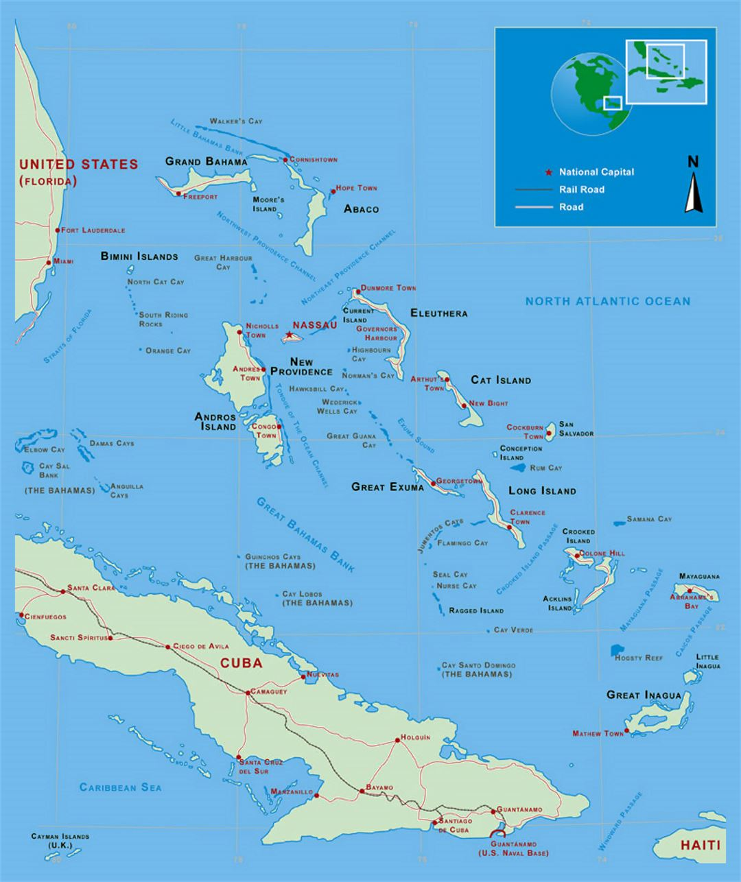Detailed Political Map Of Bahamas With Roads Railroads And Major Cities