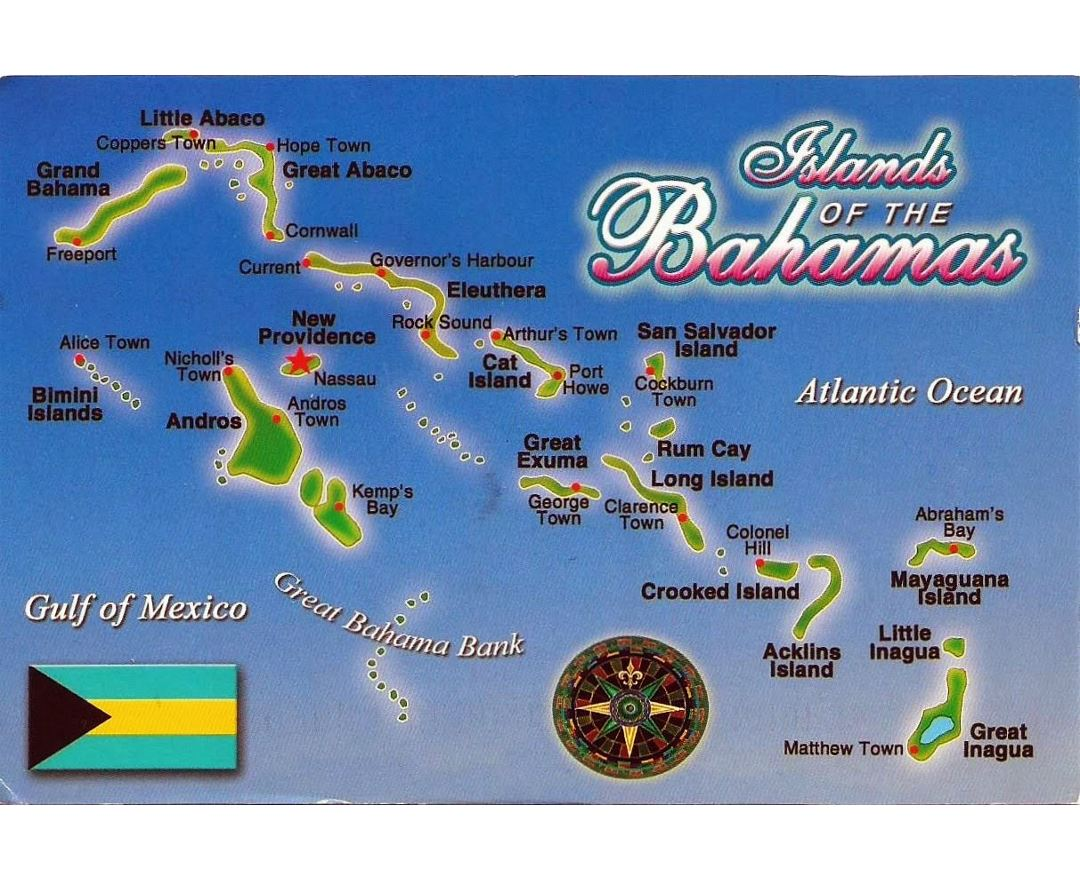 Detailed postcard map of Bahamas