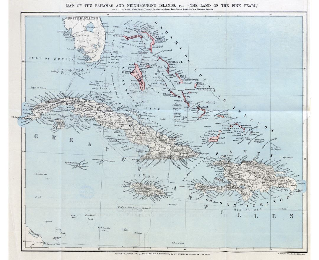 Large detailed map of the Bahamas and neighbouring islands