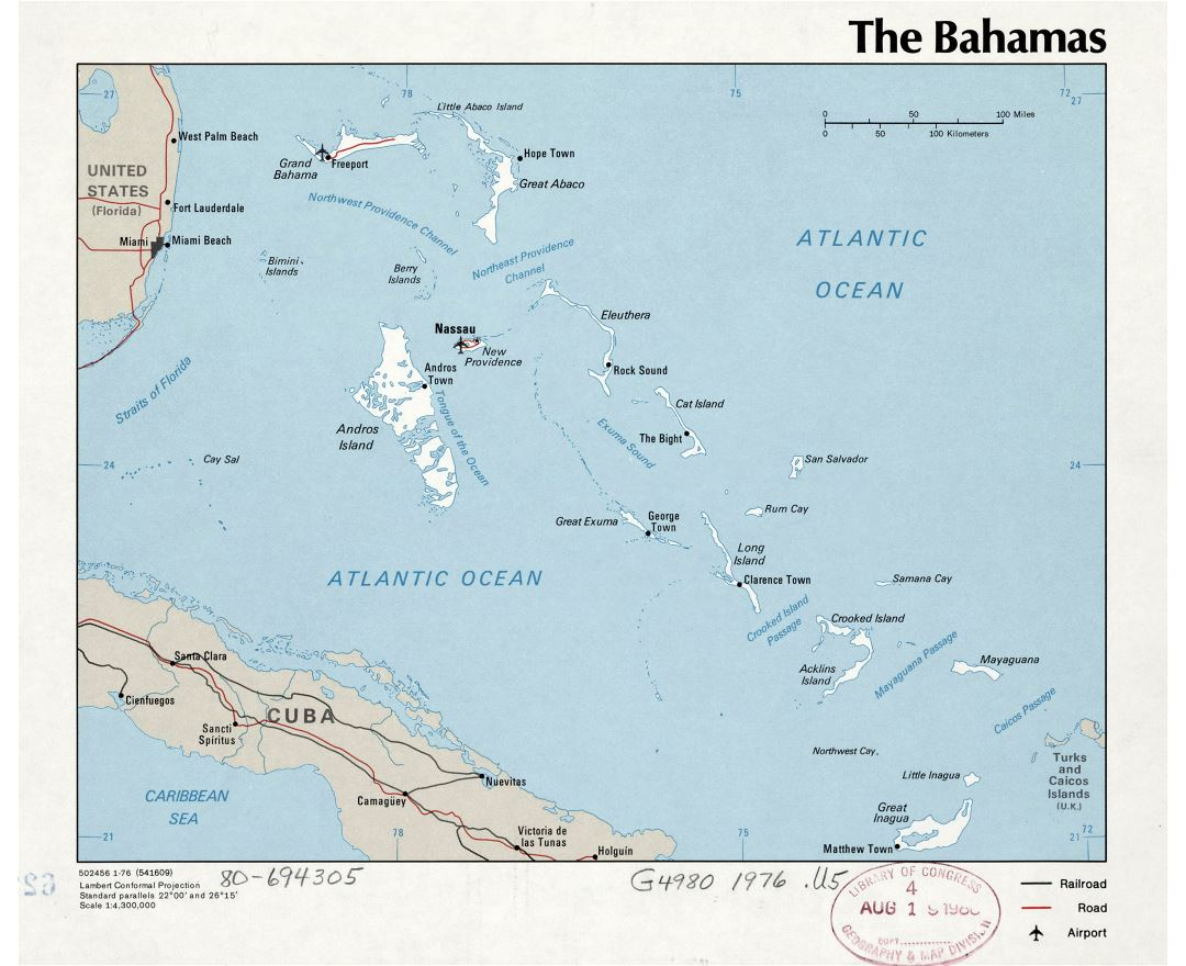 Large detailed political map of Bahamas with major cities and airports - 1976