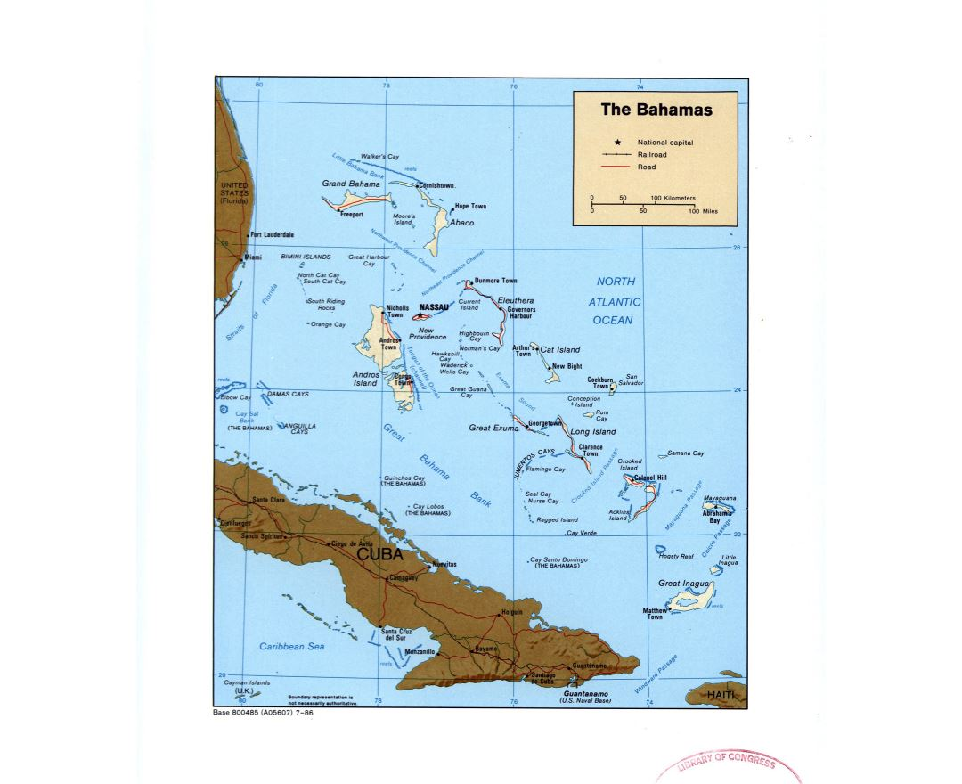 Large detailed political map of Bahamas with relief, roads, railroads and major cities - 1986