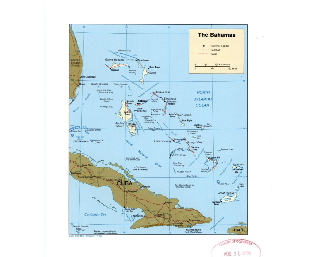 Large detailed political map of Bahamas with roads, railroads and major cities - 1986