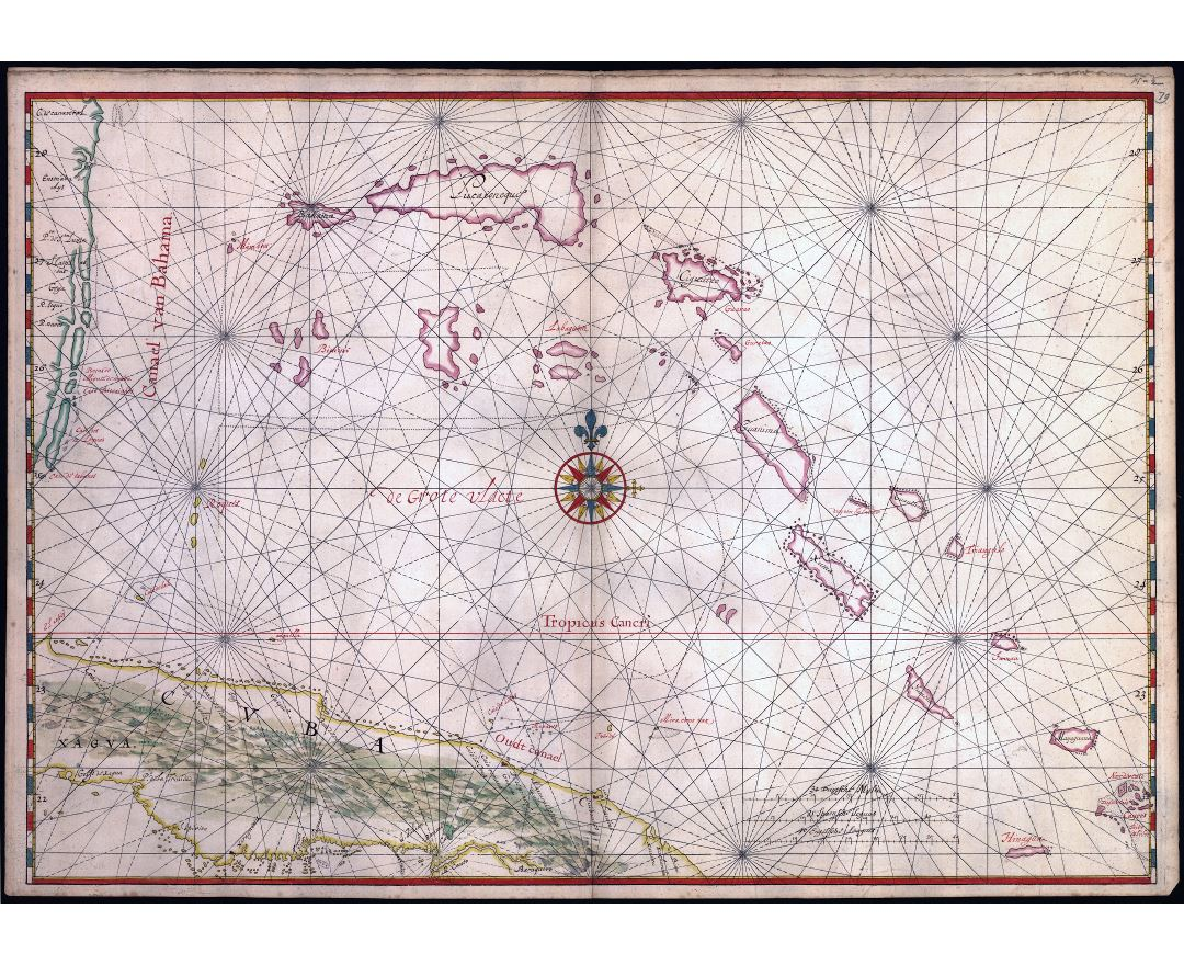 Large scale antique old map of a part of the island of Cuba and of the Bahamas - 1650