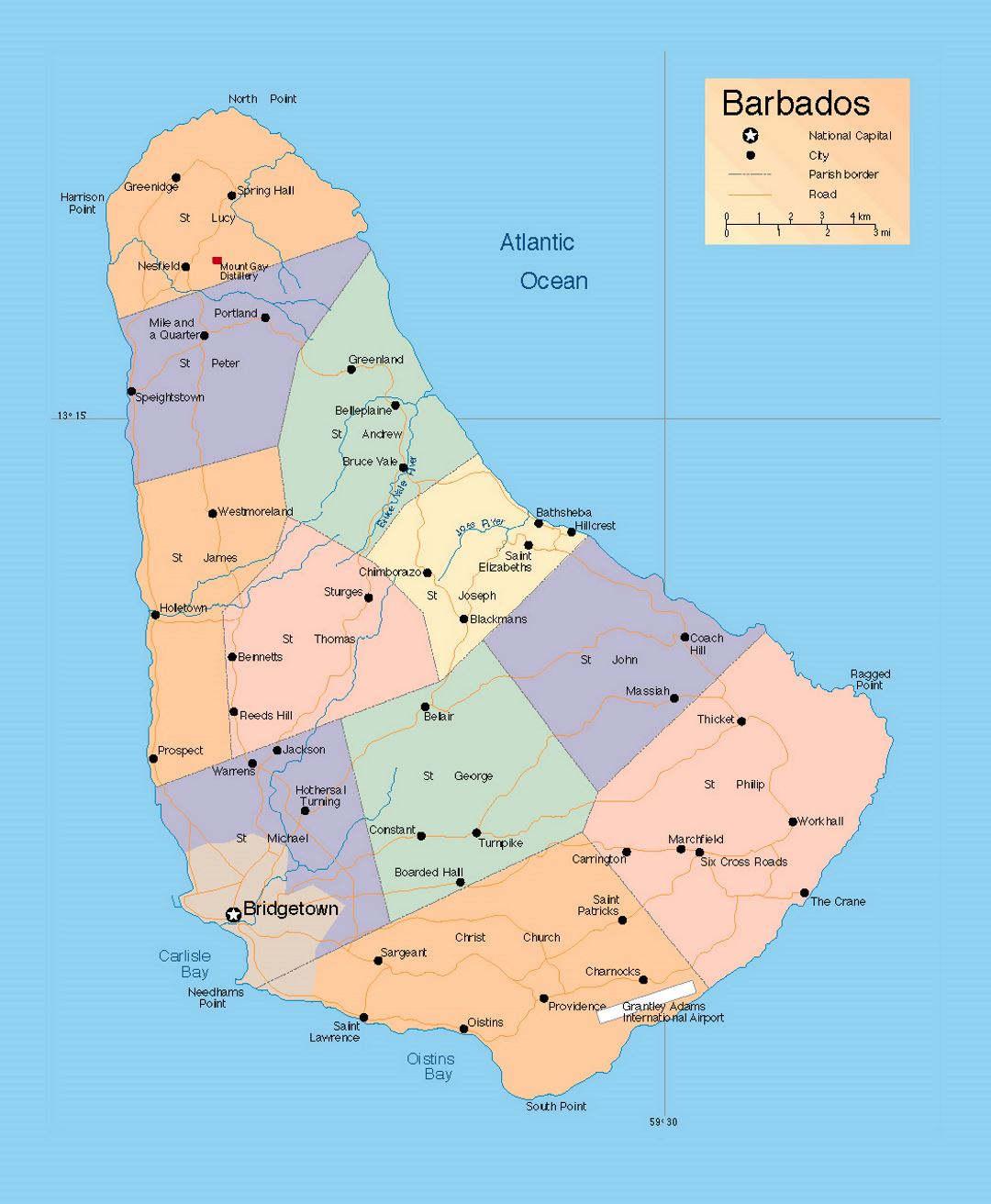 detailed administrative map of barbados with roads and cities  - detailed administrative map of barbados with roads and cities