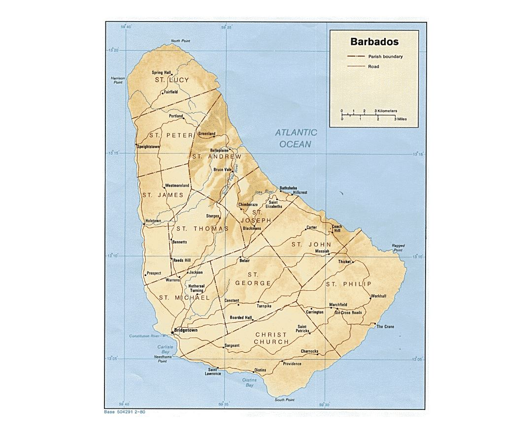 Detailed political and administrative map of Barbados with relief, roads and cities - 1980