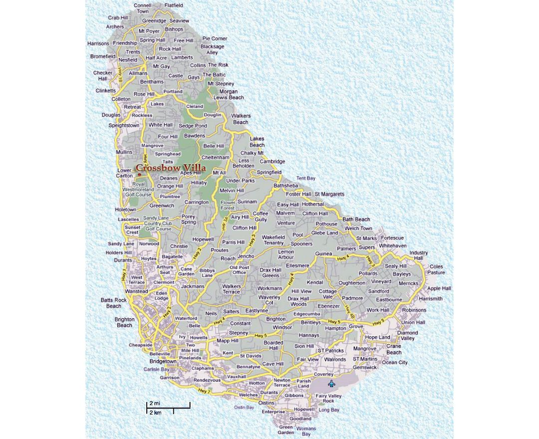 Detailed road map of Barbados with cities