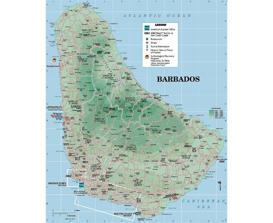 Detailed tourist and elevation map of Barbados with other marks