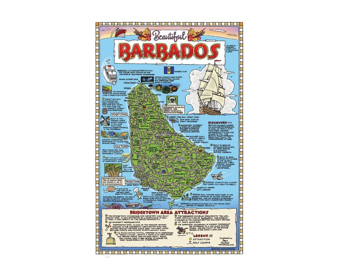 Detailed tourist map of Barbados