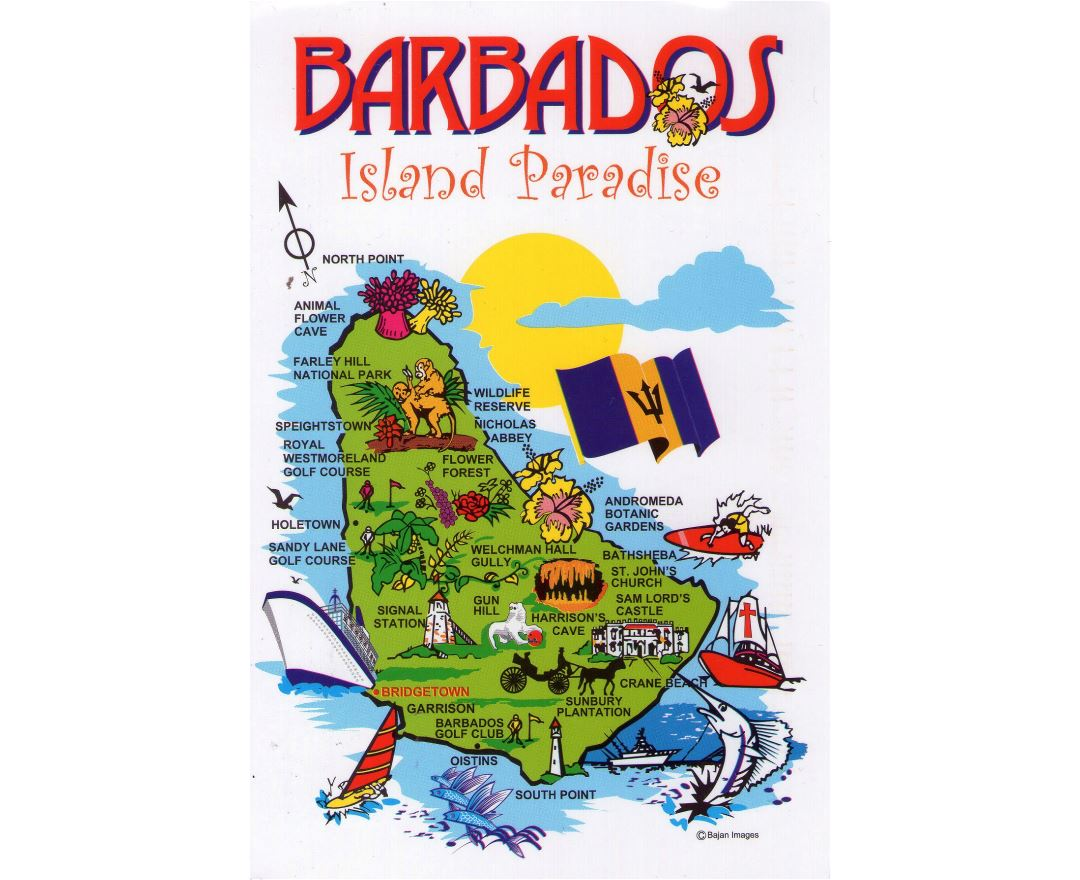 Large Barbados travel illustrated map
