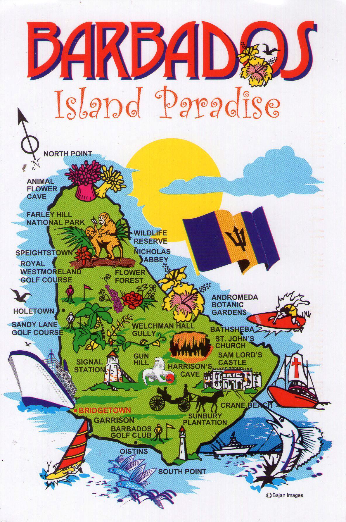 Large Barbados travel illustrated map | Barbados | North ...