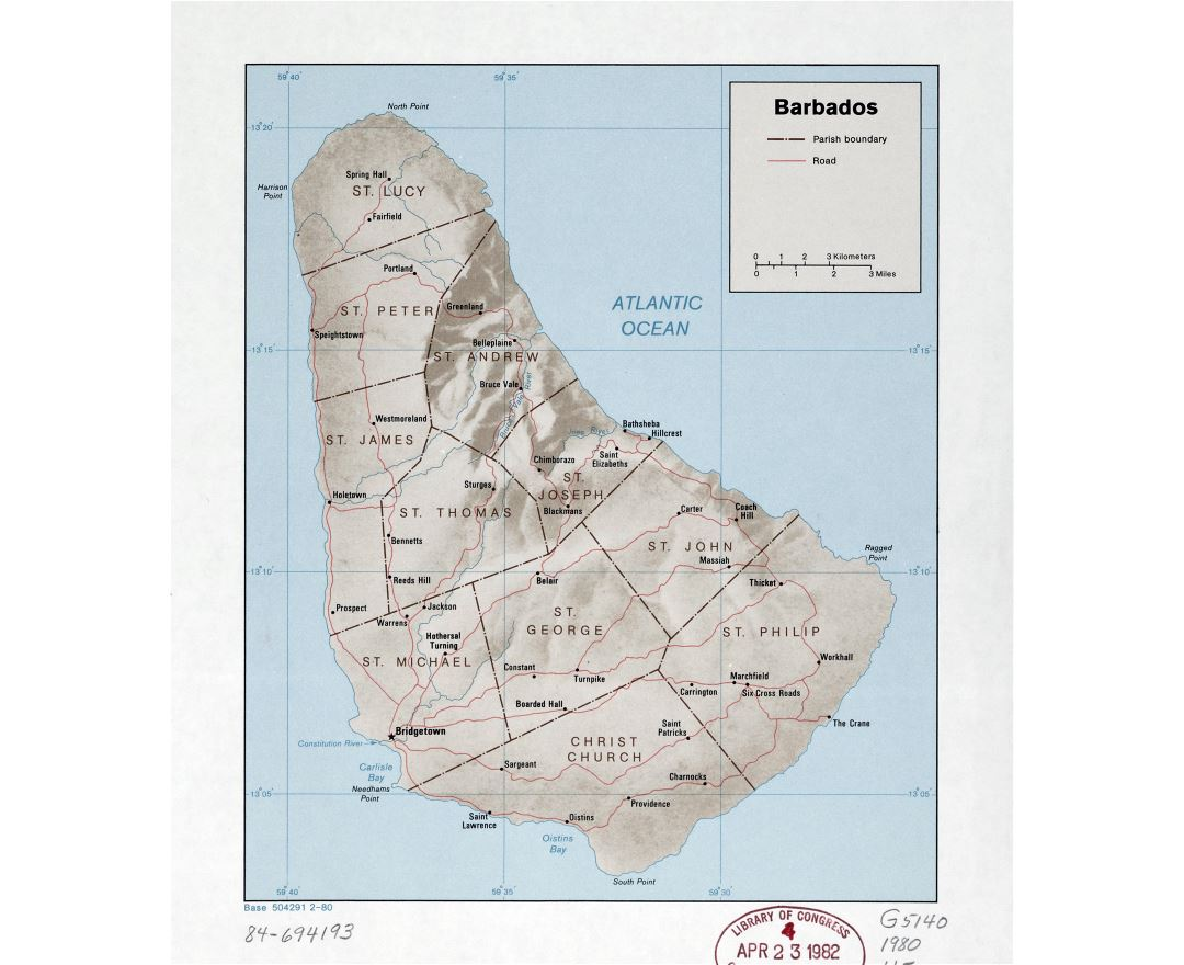 Large detailed political and administrative map of Barbados with relief, roads and cities - 1980