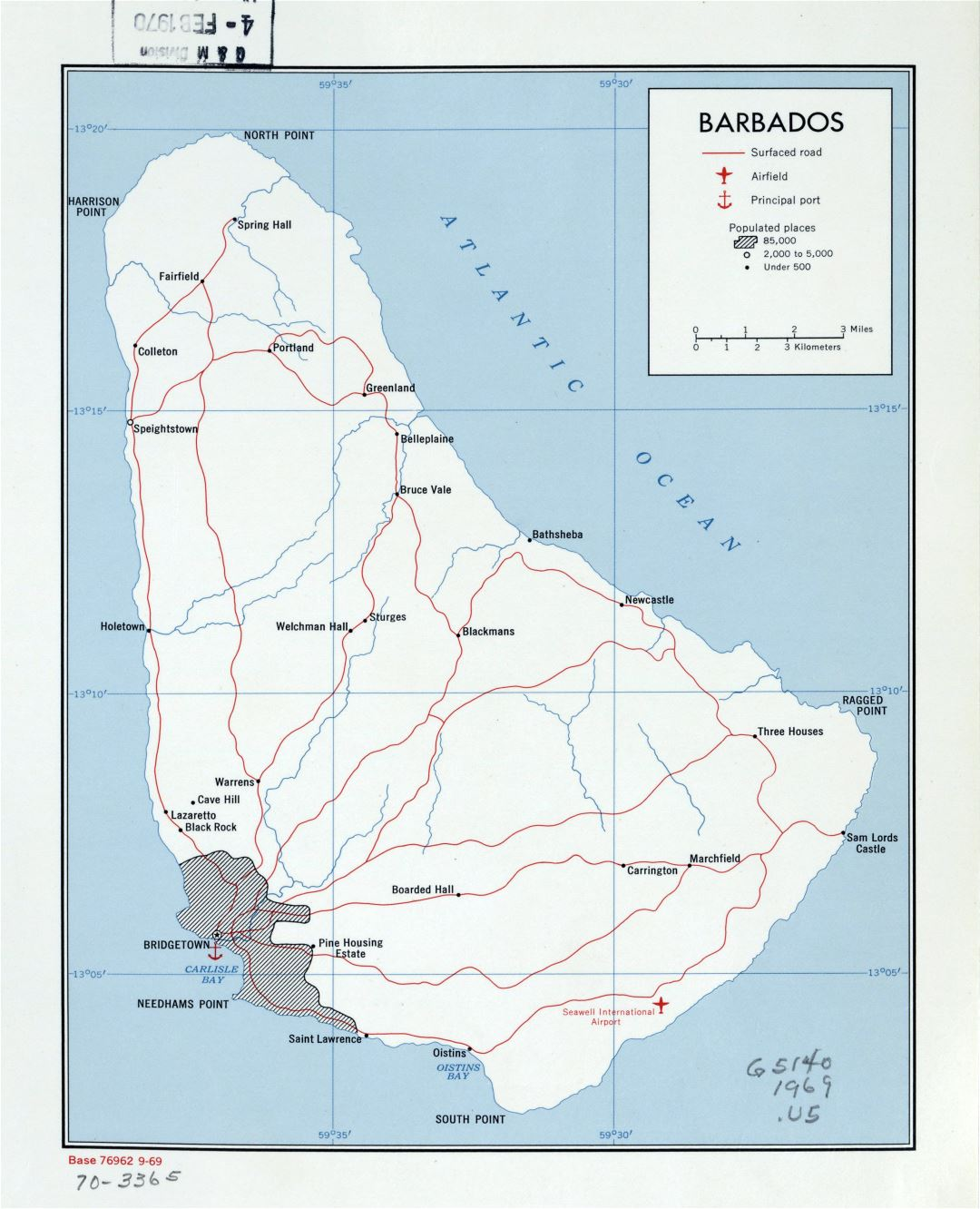 Large detailed political map of Barbados with roads, cities, ports and airports - 1969