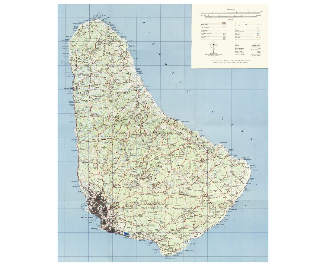 Large detailed topographical map of Barbados with roads, cities, villages and other marks