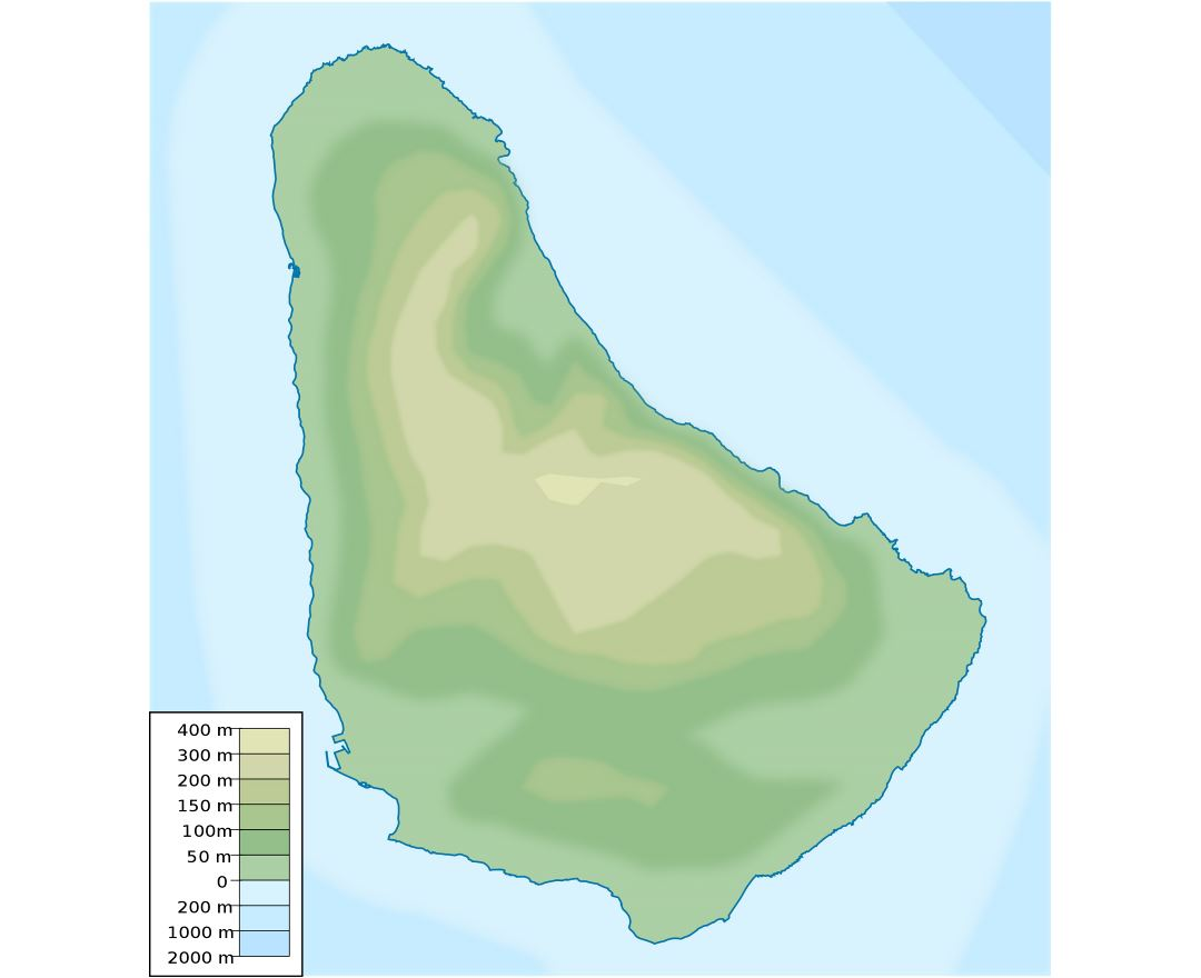 Large elevation map of Barbados