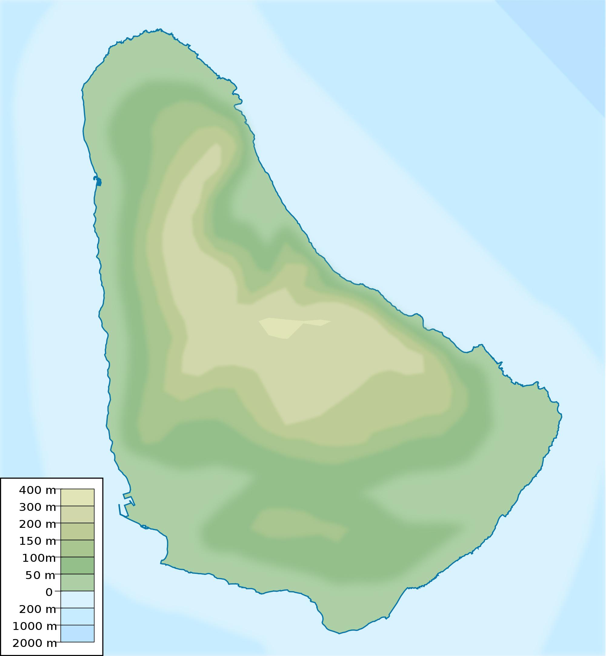 Large elevation map of Barbados Barbados North America