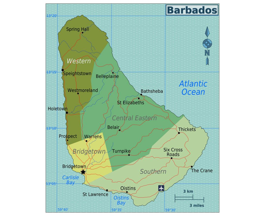 Large regions map of Barbados