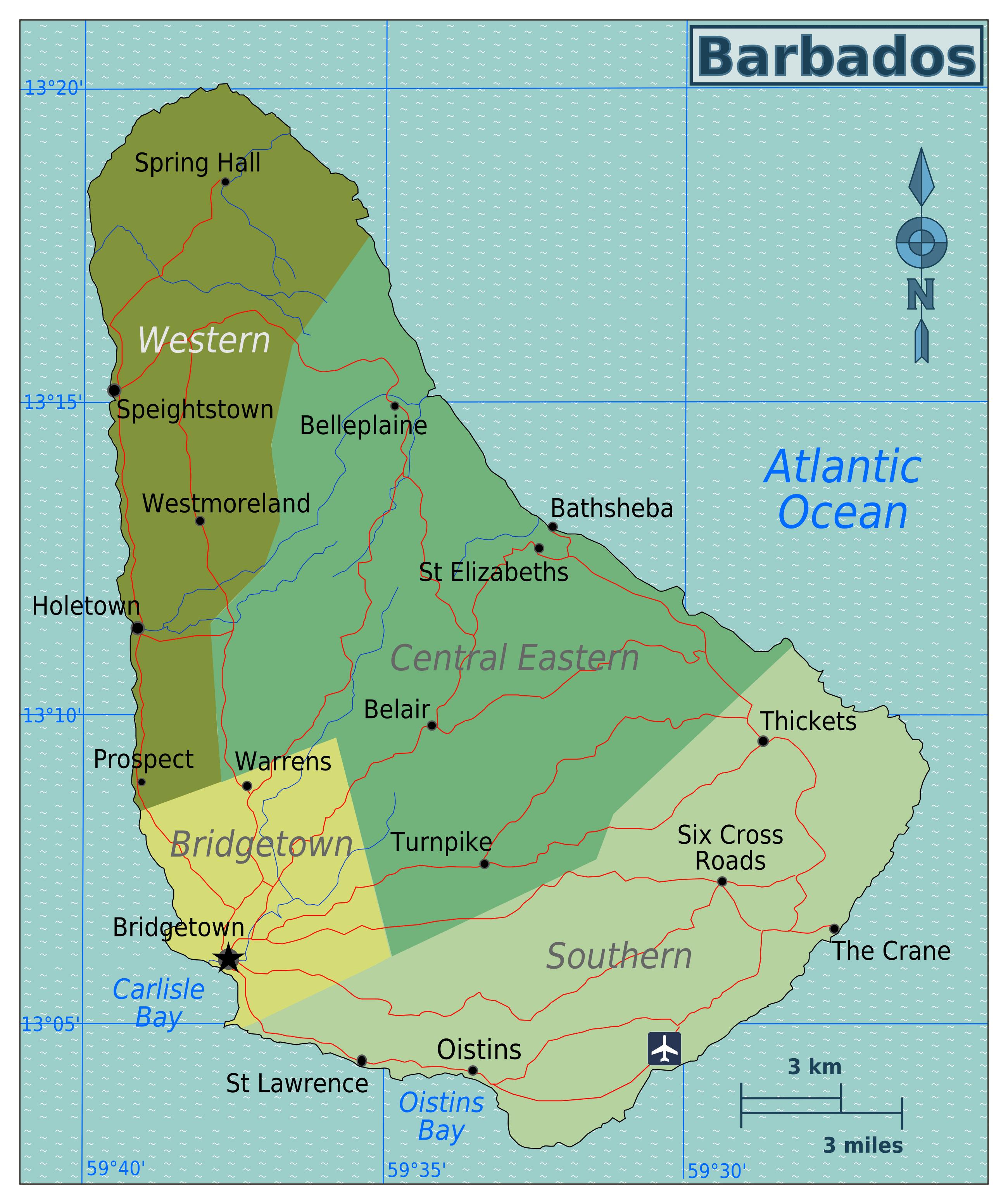 Large regions map of Barbados Barbados North America Mapsland