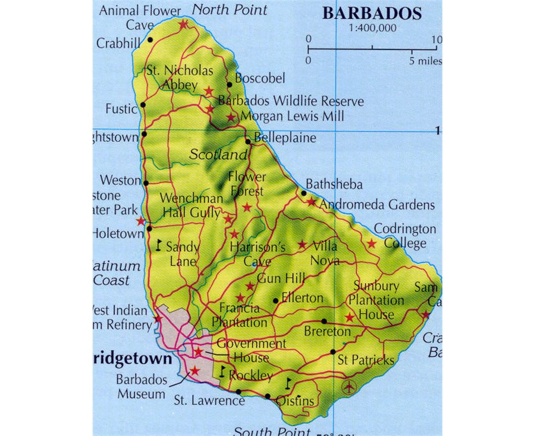 Relief and road map of Barbados with cities