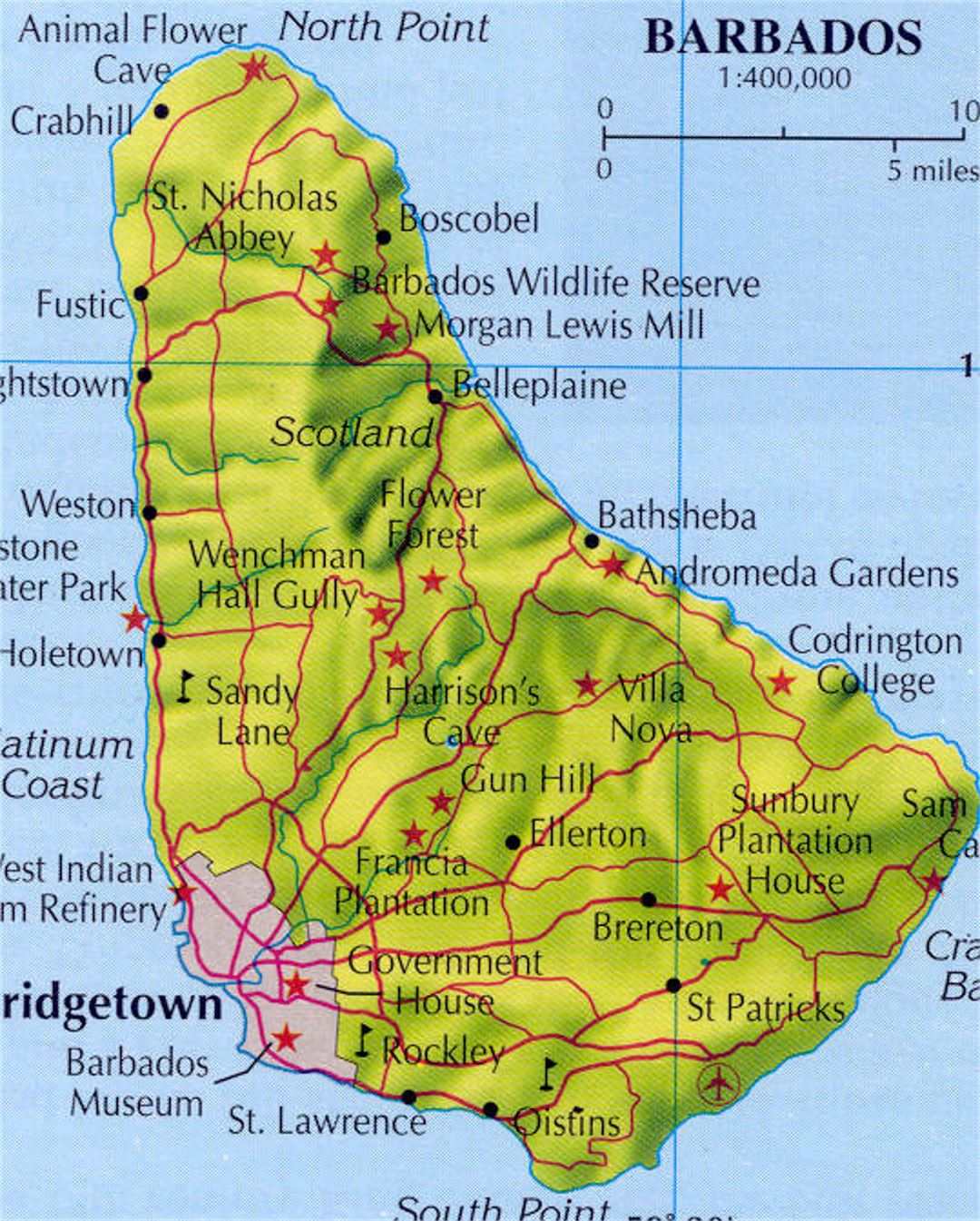 Relief and road map of Barbados with cities Barbados North
