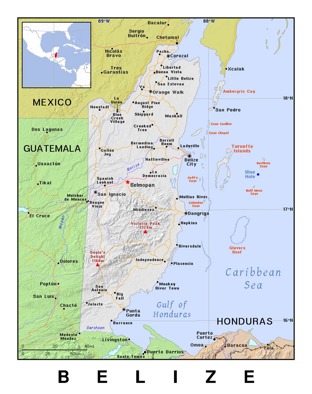 Belize Political Map.Detailed Political Map Of Belize With Relief Belize North