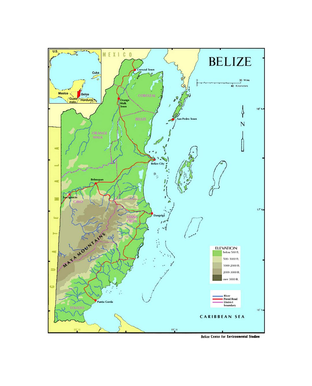 N Home Elevation Usa : Elevation map of belize north america
